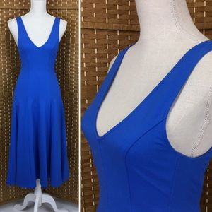 H&M Royal Blue Sleeveless Midi Dress Sz 6 NWT